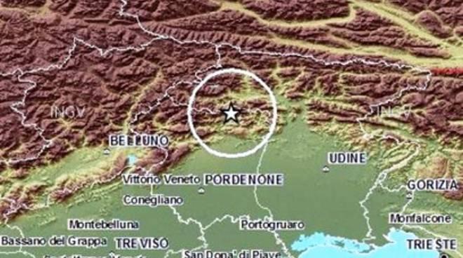 Scossa di terremoto vicino Pordenone