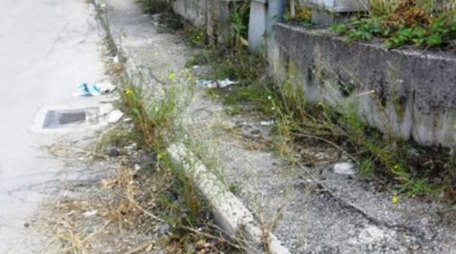 Erba e buche sui marciapiedi di Coppito