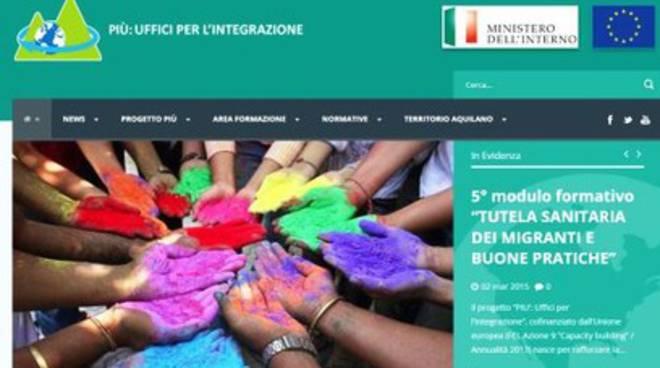 'Progetto Più, Uffici per l'Integrazione', portale on line
