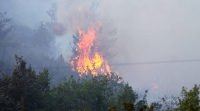 Incendio di grande entità a Preturo, VVF in azione