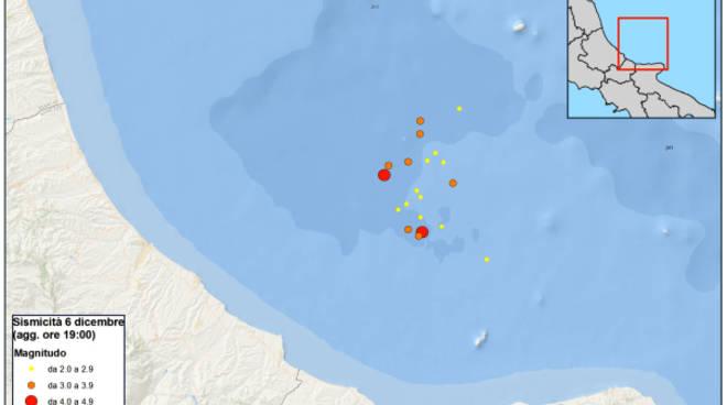 Sciame sismico in Adriatico al largo della costa abruzzese
