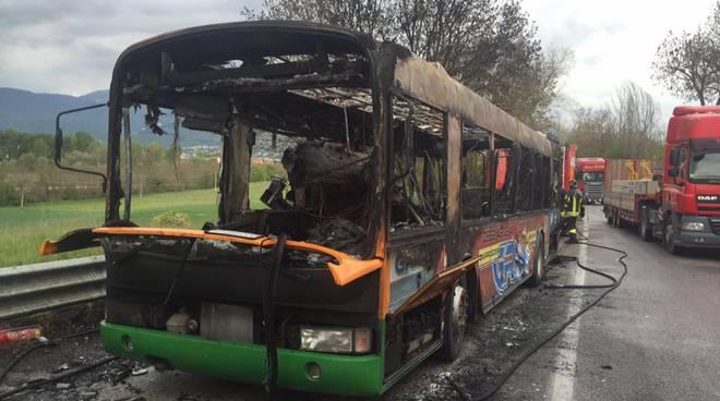 autobus carbonizzato sassa
