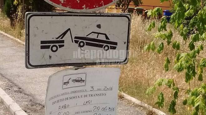 cartello coppito sfalcio erba