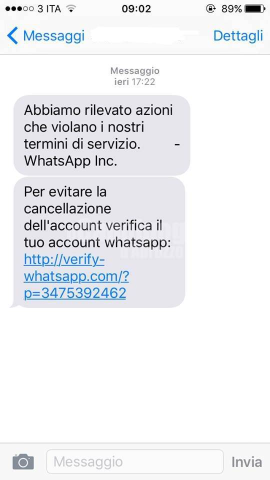 occhio alla truffa whatsapp