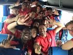 l'aquila calcio: squadra esulta in bus