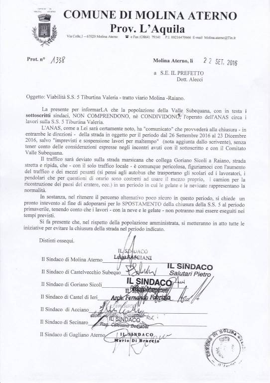 lettera al prefetto sindaci valle subequana su lavori SS5