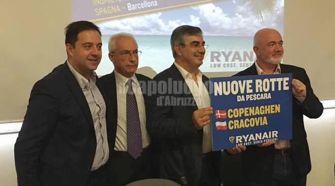 Aeroporto Pescara: Ryanair, nuovi voli per Copenaghen e Cracovia