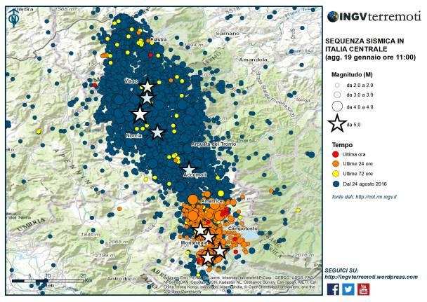 sequenza sismica terremoto 18 19 gennaio