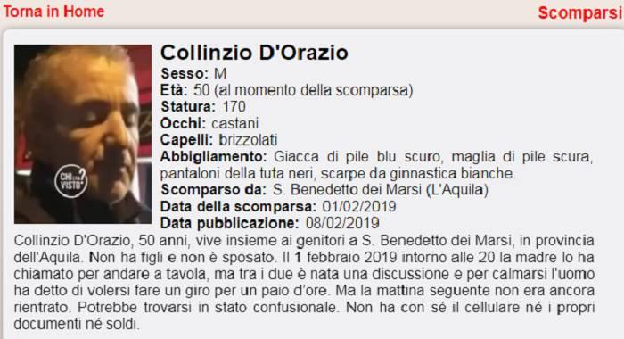 COLLINZIO D'ORAZIO SCOMPARSO DA SAN BENEDETTO DEI MARSI