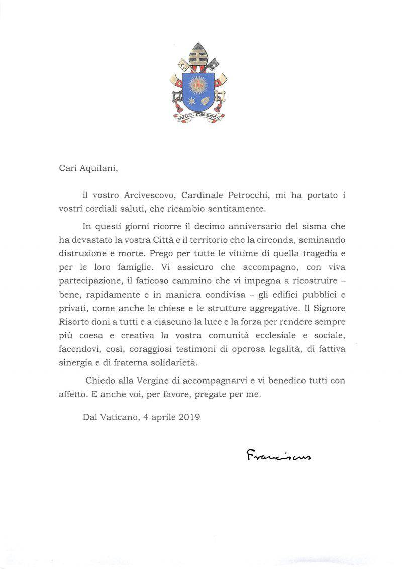 LETTERA PAPA FRANCESCO PER DECENNALE