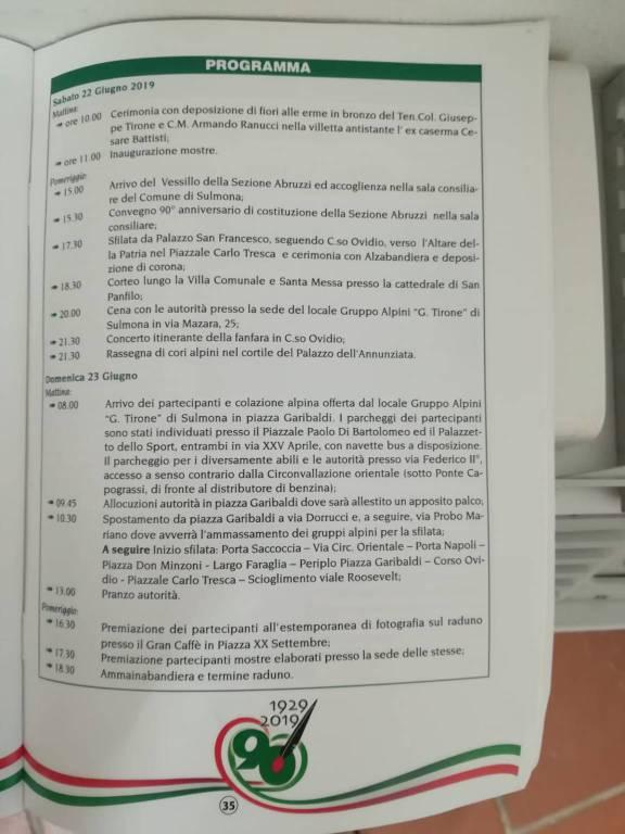 programma alpini sulmona 2019