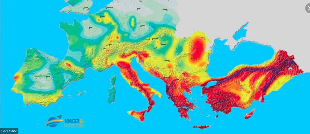 mappa sismicità Europa