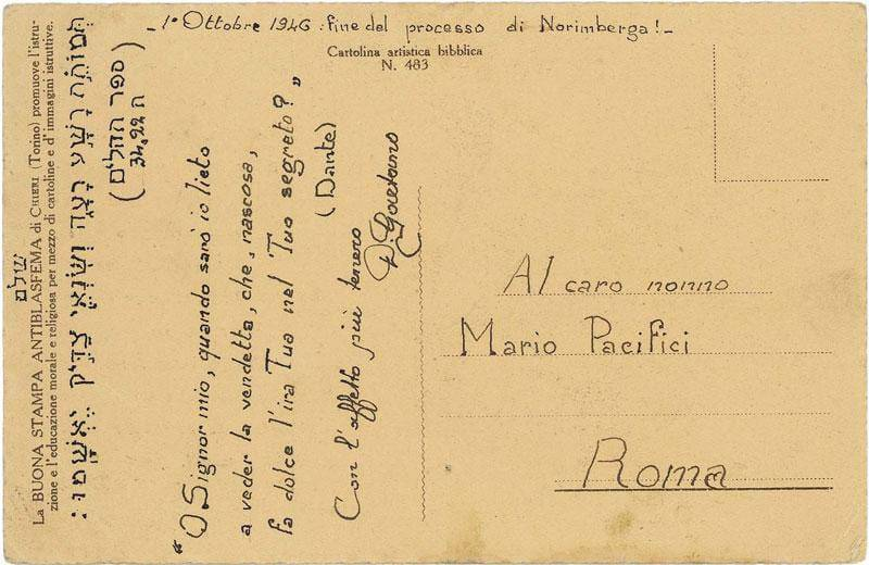 cartolina processo di Norimberga Don Gaetano Tantalo