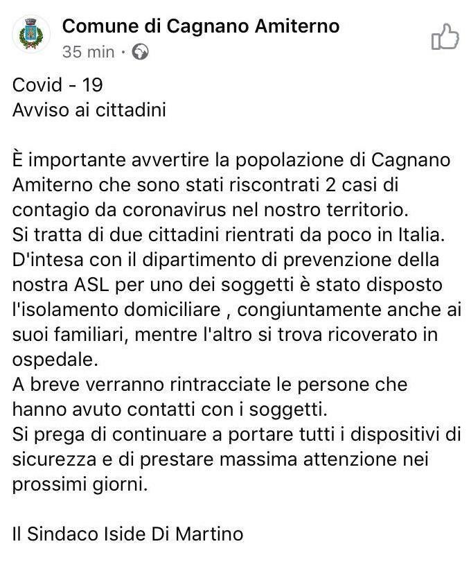 avviso coronavirus cagnano