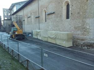 basilica collemaggio allestimento cantiere